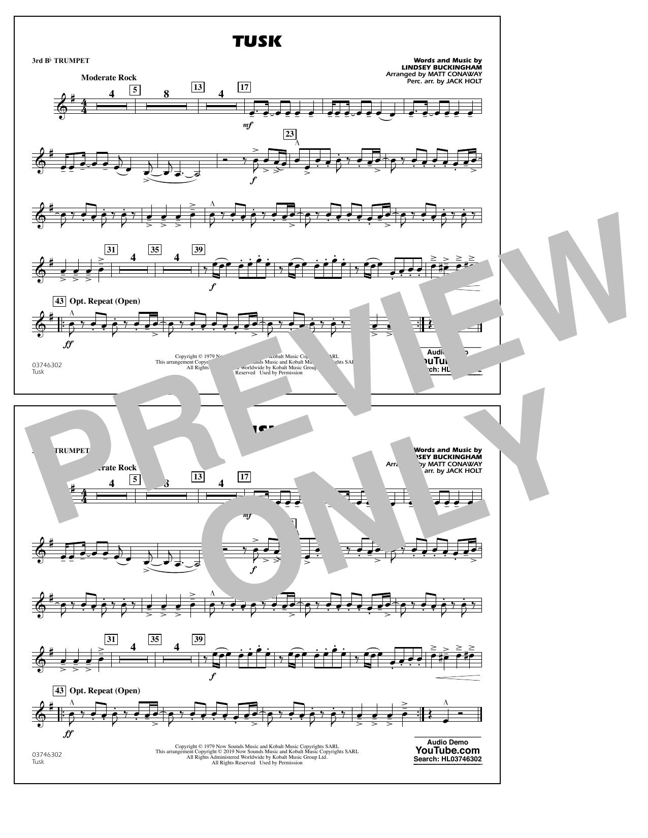 Fleetwood Mac Tusk (arr. Matt Conaway) - 3rd Bb Trumpet sheet music notes and chords