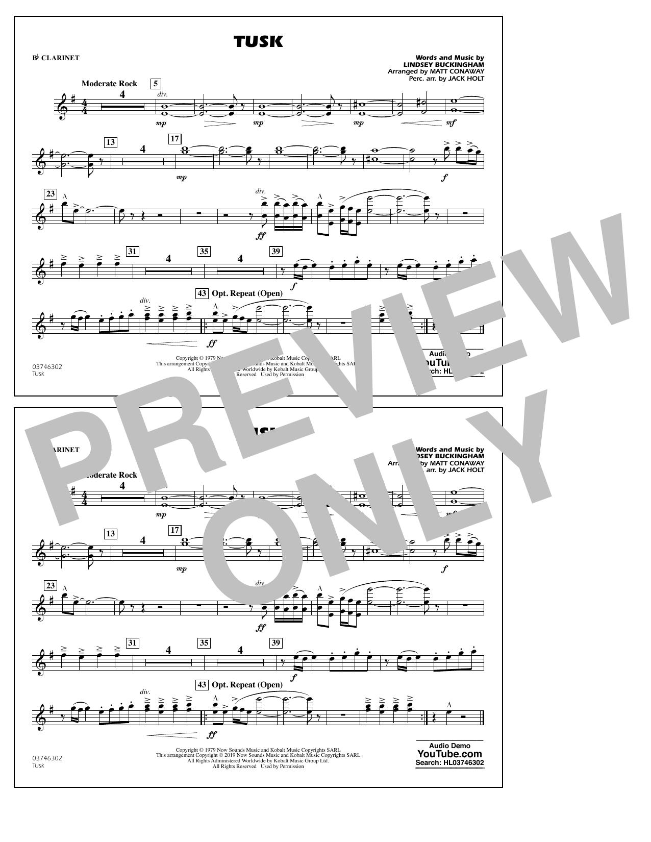 Fleetwood Mac Tusk (arr. Matt Conaway) - Bb Clarinet sheet music notes and chords