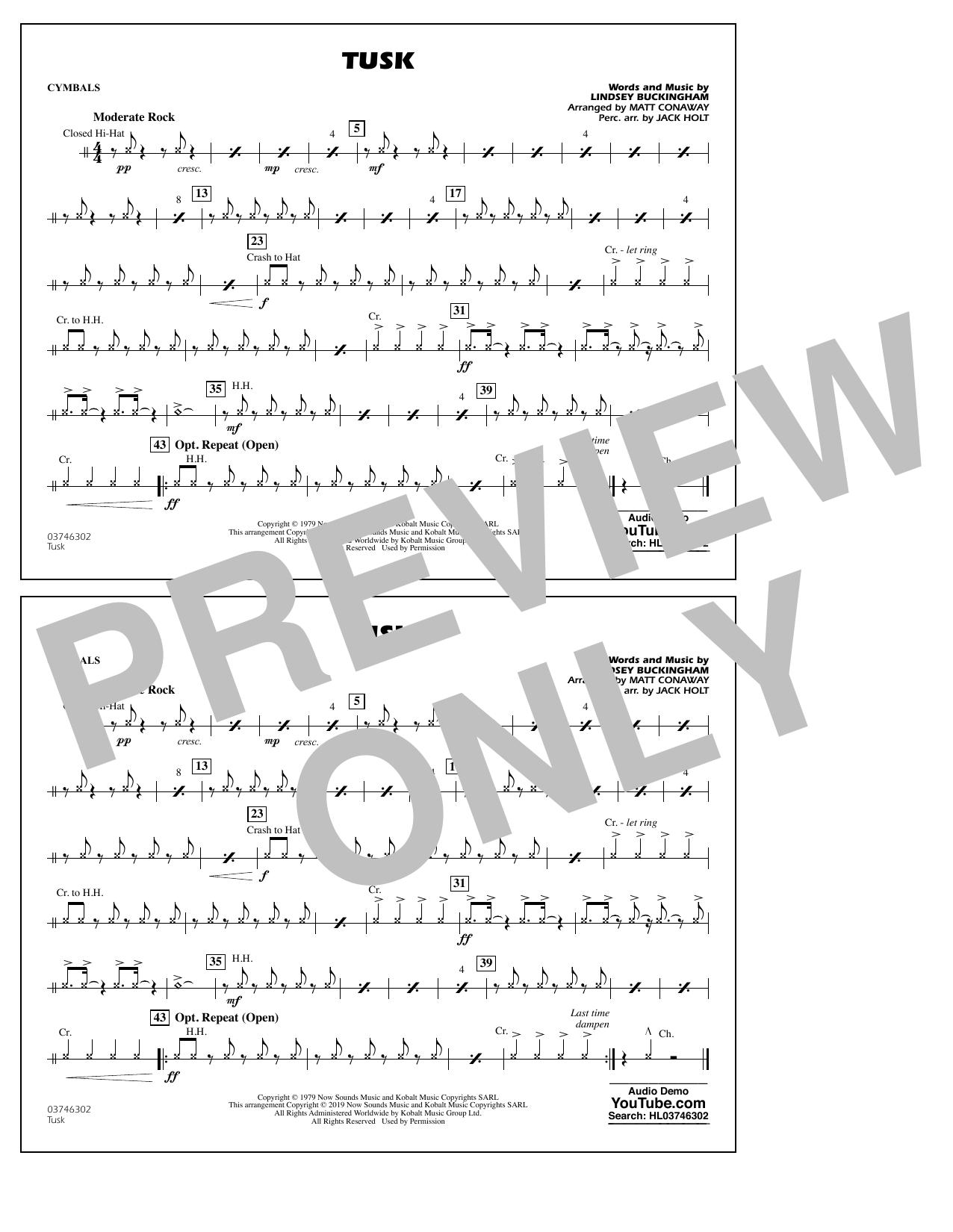 Fleetwood Mac Tusk (arr. Matt Conaway) - Cymbals sheet music notes and chords
