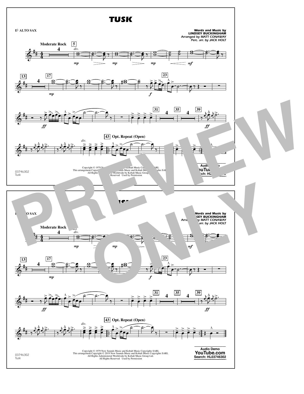 Fleetwood Mac Tusk (arr. Matt Conaway) - Eb Alto Sax sheet music notes and chords