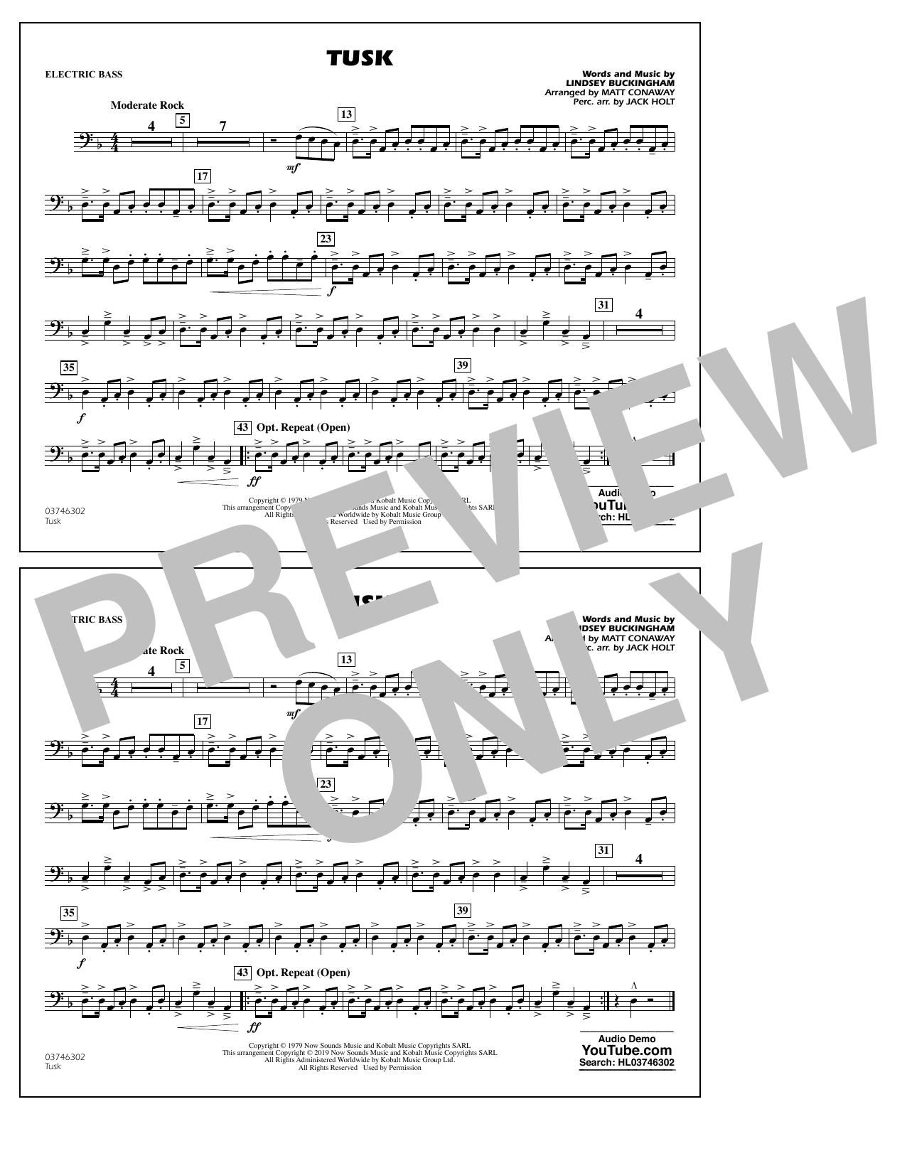 Fleetwood Mac Tusk (arr. Matt Conaway) - Electric Bass sheet music notes and chords