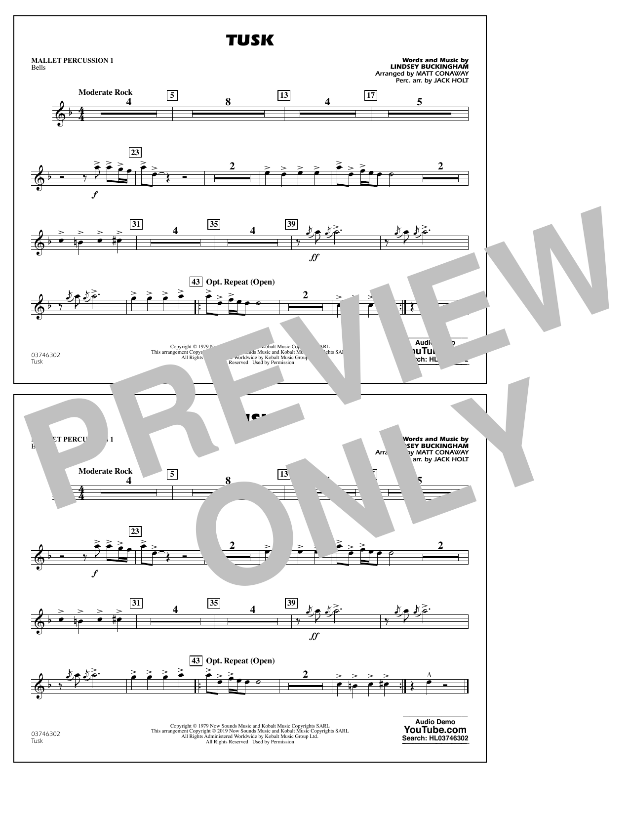 Fleetwood Mac Tusk (arr. Matt Conaway) - Mallet Percussion 1 sheet music notes and chords. Download Printable PDF.