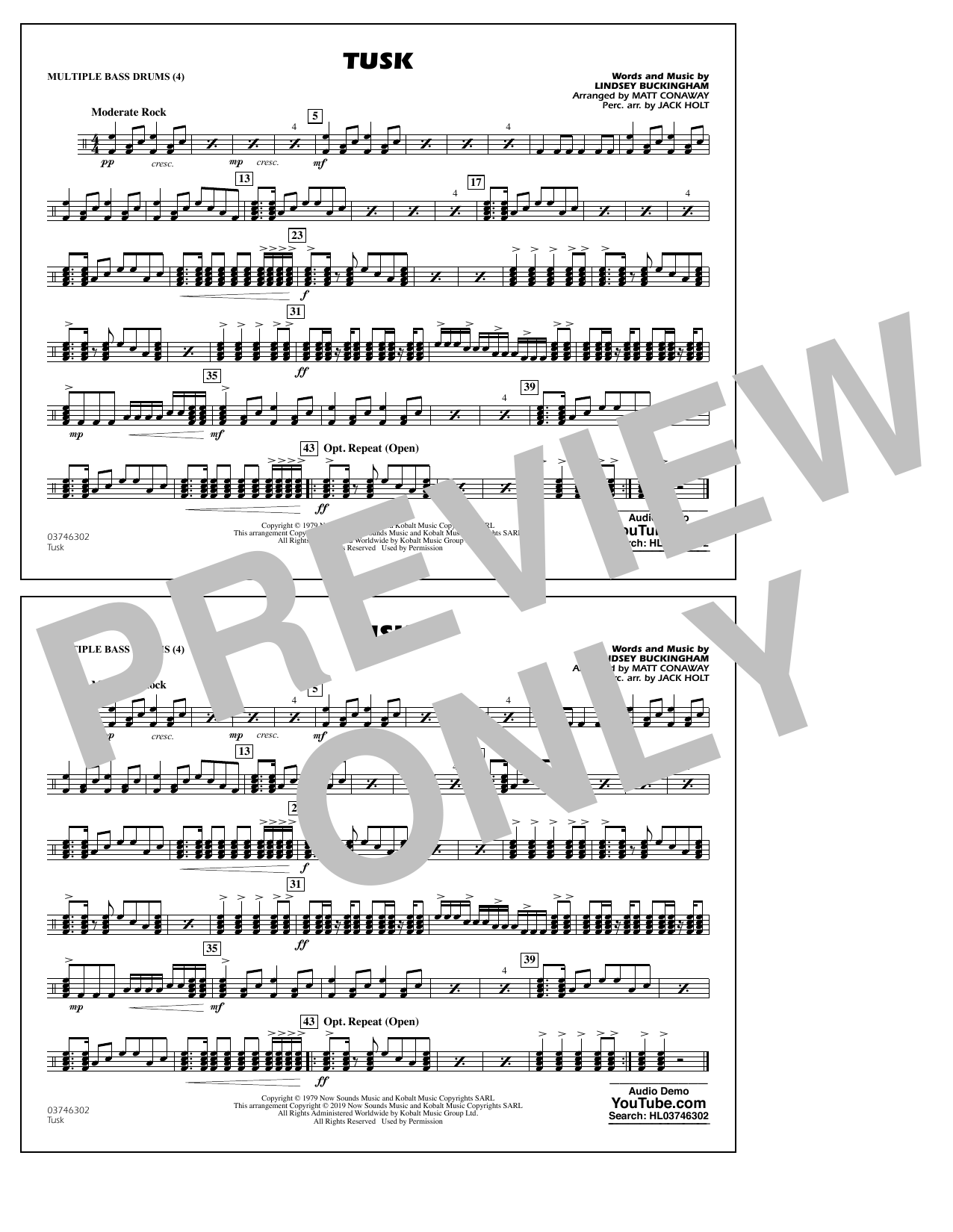 Fleetwood Mac Tusk (arr. Matt Conaway) - Multiple Bass Drums sheet music notes and chords. Download Printable PDF.