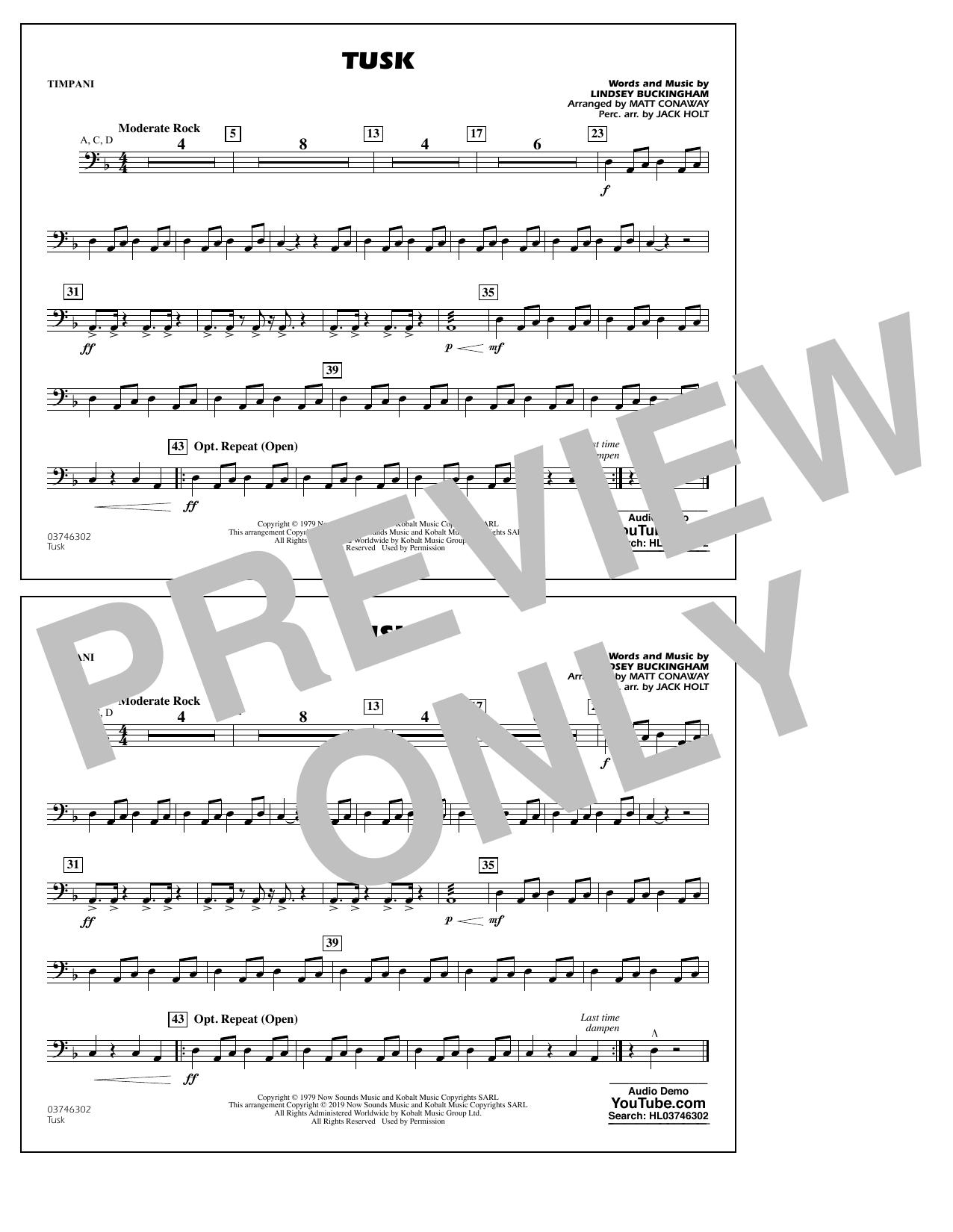 Fleetwood Mac Tusk (arr. Matt Conaway) - Timpani sheet music notes and chords