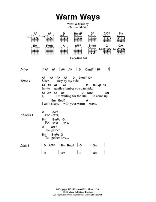 Fleetwood Mac Warm Ways sheet music notes and chords. Download Printable PDF.