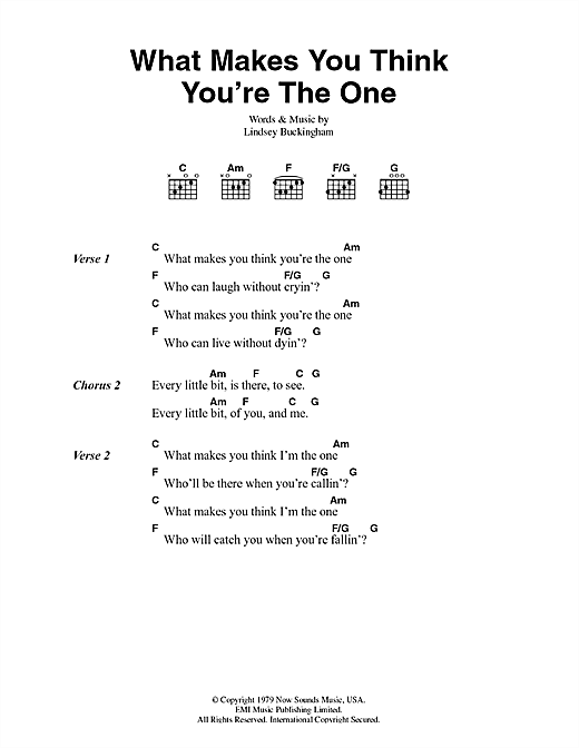 Fleetwood Mac What Makes You Think You're The One sheet music notes and chords. Download Printable PDF.
