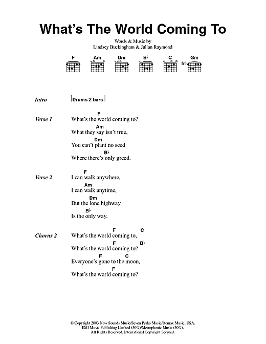 Fleetwood Mac What's The World Coming To sheet music notes and chords. Download Printable PDF.
