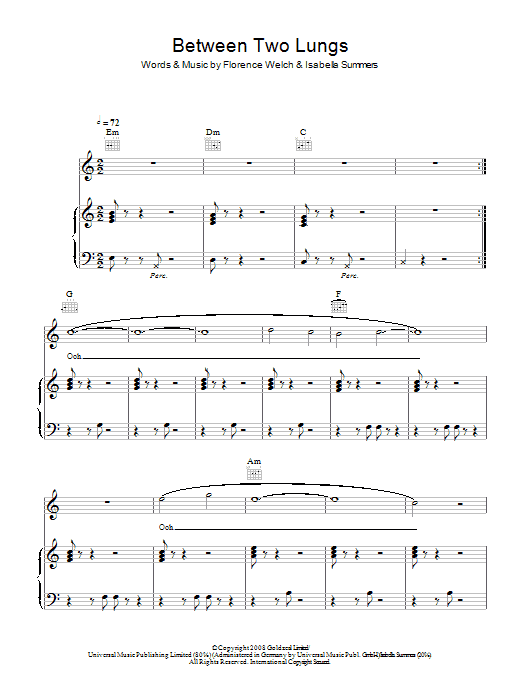 Florence And The Machine Between Two Lungs sheet music notes and chords. Download Printable PDF.