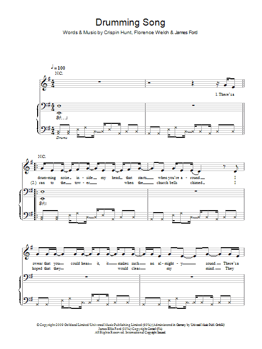 Florence And The Machine Drumming Song sheet music notes and chords. Download Printable PDF.