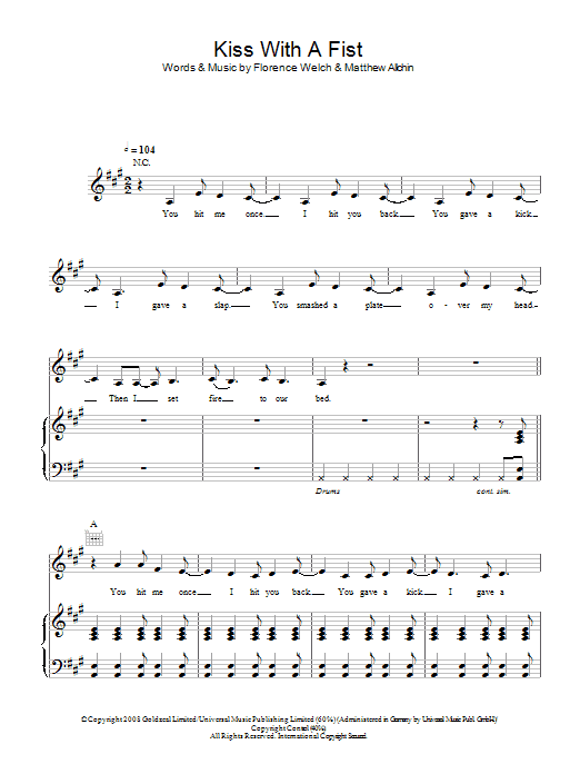 Florence And The Machine Kiss With A Fist sheet music notes and chords. Download Printable PDF.