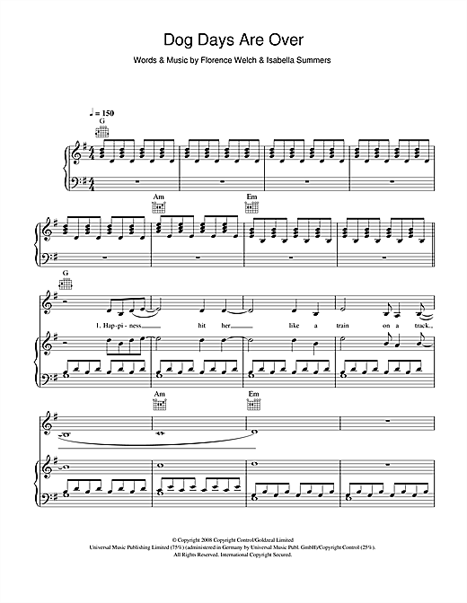Florence And The Machine Dog Days Are Over sheet music notes and chords. Download Printable PDF.