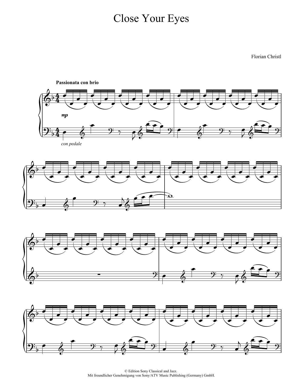 Florian Christl Close Your Eyes sheet music notes and chords