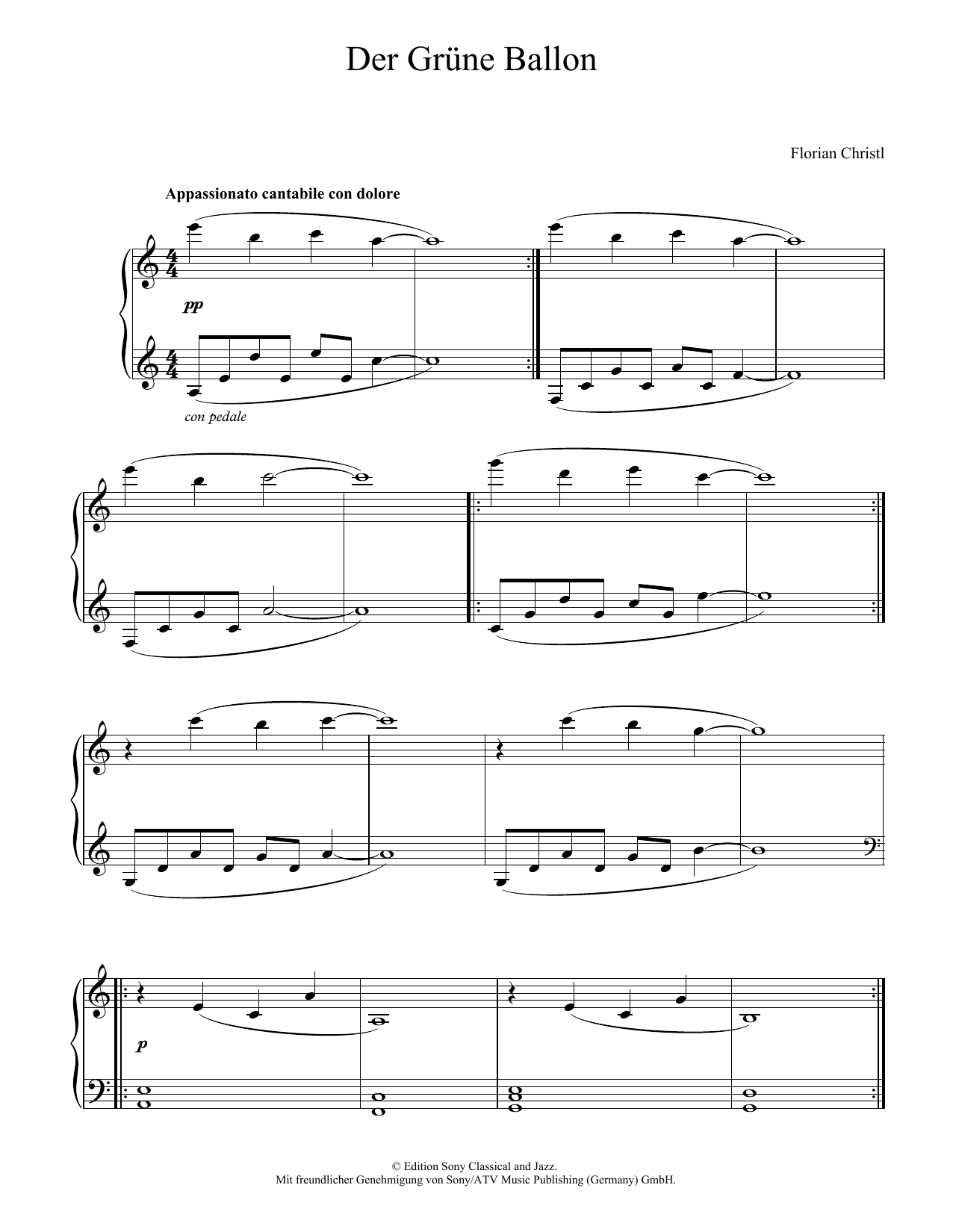 Florian Christl Der Gruene Ballon sheet music notes and chords