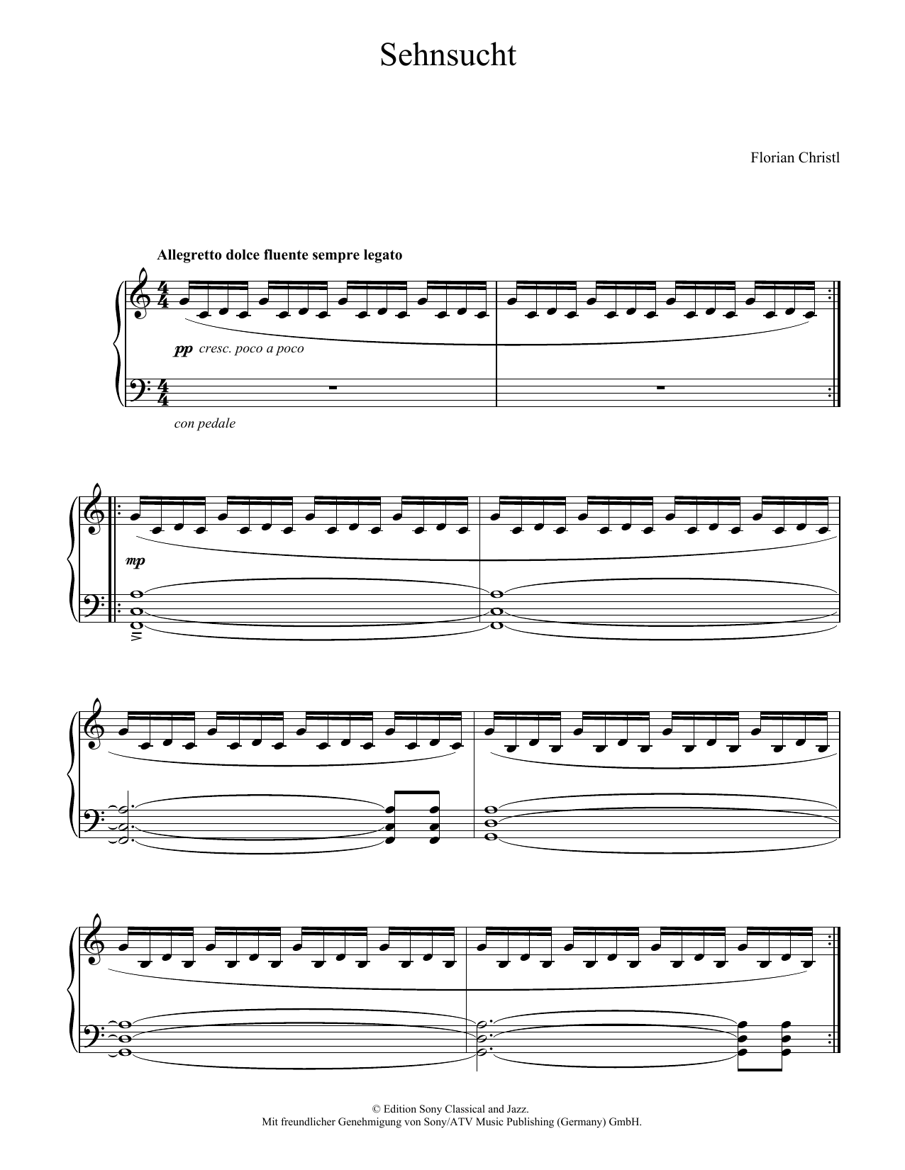 Florian Christl Sehnsucht sheet music notes and chords