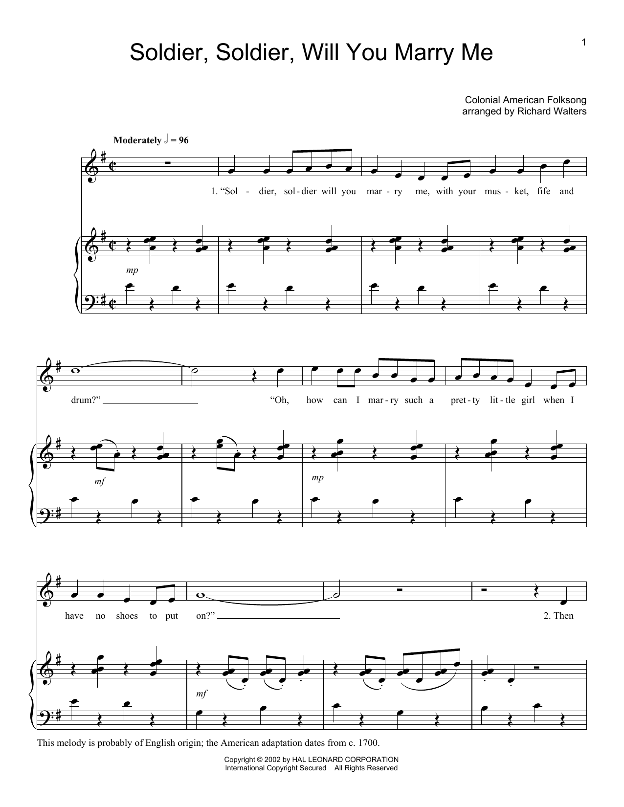 Folk Song Soldier, Soldier Will You Marry Me sheet music notes and chords. Download Printable PDF.