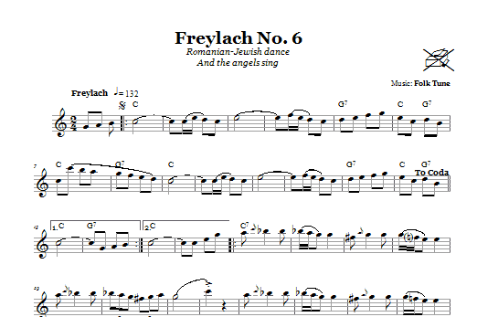 Folk Tune Freylach No. 6 (Romanian-Jewish Dance (And The Angels Sing)) sheet music notes and chords
