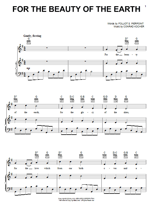 Folliot S. Pierpoint For The Beauty Of The Earth sheet music notes and chords. Download Printable PDF.