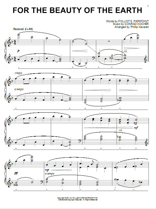 Folliot S. Pierpoint For The Beauty Of The Earth [Classical version] (arr. Phillip Keveren) sheet music notes and chords. Download Printable PDF.
