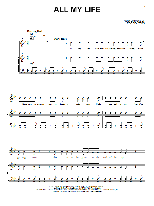 Foo Fighters All My Life sheet music notes and chords. Download Printable PDF.