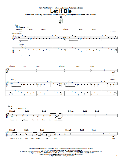 Foo Fighters Let It Die sheet music notes and chords. Download Printable PDF.