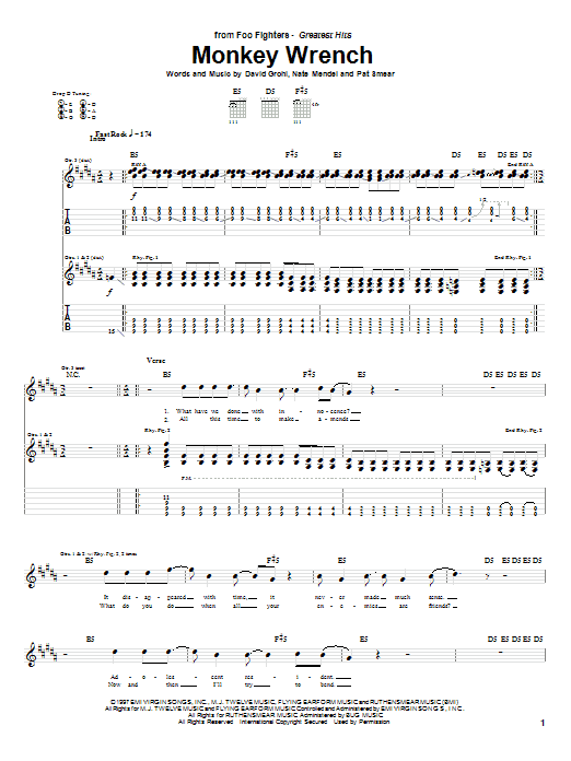 Foo Fighters Monkey Wrench sheet music notes and chords. Download Printable PDF.