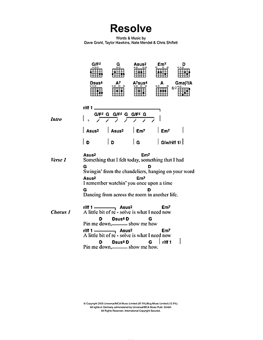 Foo Fighters Resolve sheet music notes and chords. Download Printable PDF.