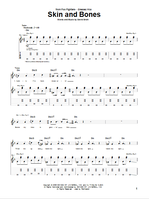 Foo Fighters Skin And Bones sheet music notes and chords. Download Printable PDF.