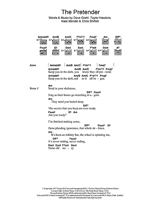 Foo Fighters The Pretender sheet music notes and chords. Download Printable PDF.