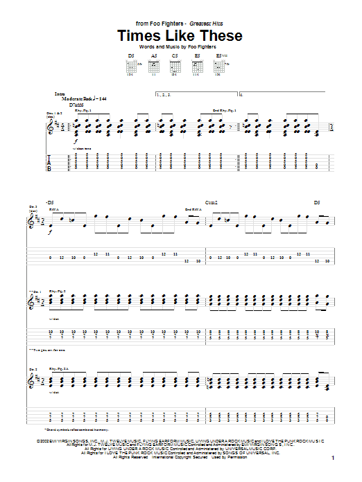 Foo Fighters Times Like These sheet music notes and chords. Download Printable PDF.