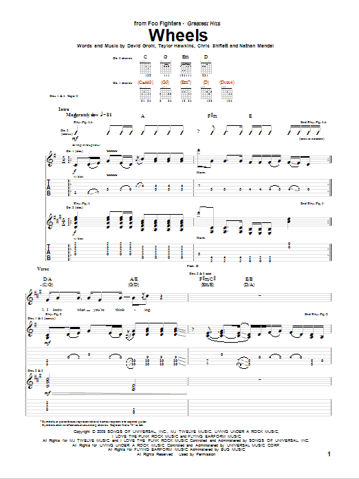 Foo Fighters Wheels sheet music notes and chords. Download Printable PDF.