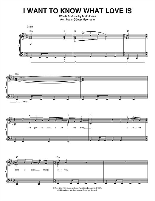 Foreigner I Want To Know What Love Is sheet music notes and chords. Download Printable PDF.