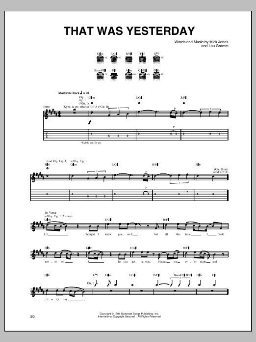 Foreigner That Was Yesterday sheet music notes and chords. Download Printable PDF.