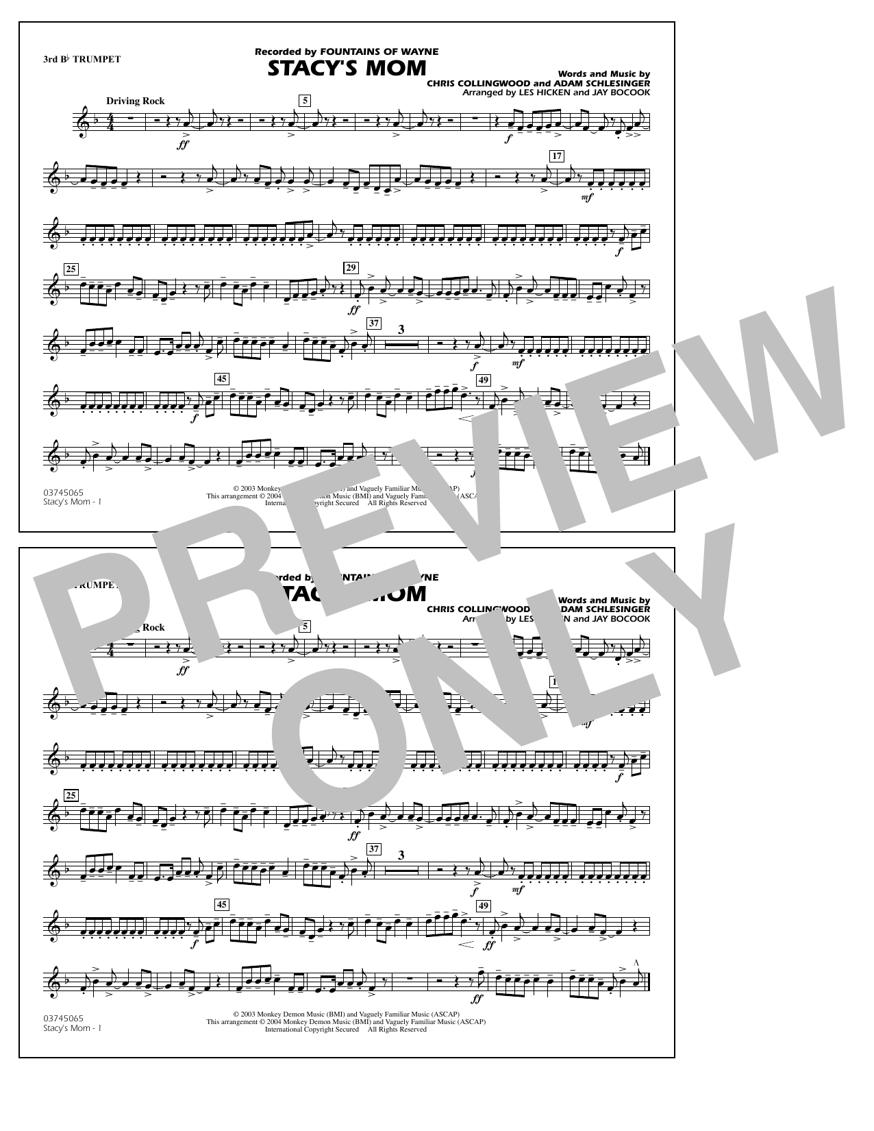 Fountains Of Wayne Stacy's Mom (arr. Les Hicken and Jay Bocook) - 3rd Bb Trumpet sheet music notes and chords. Download Printable PDF.