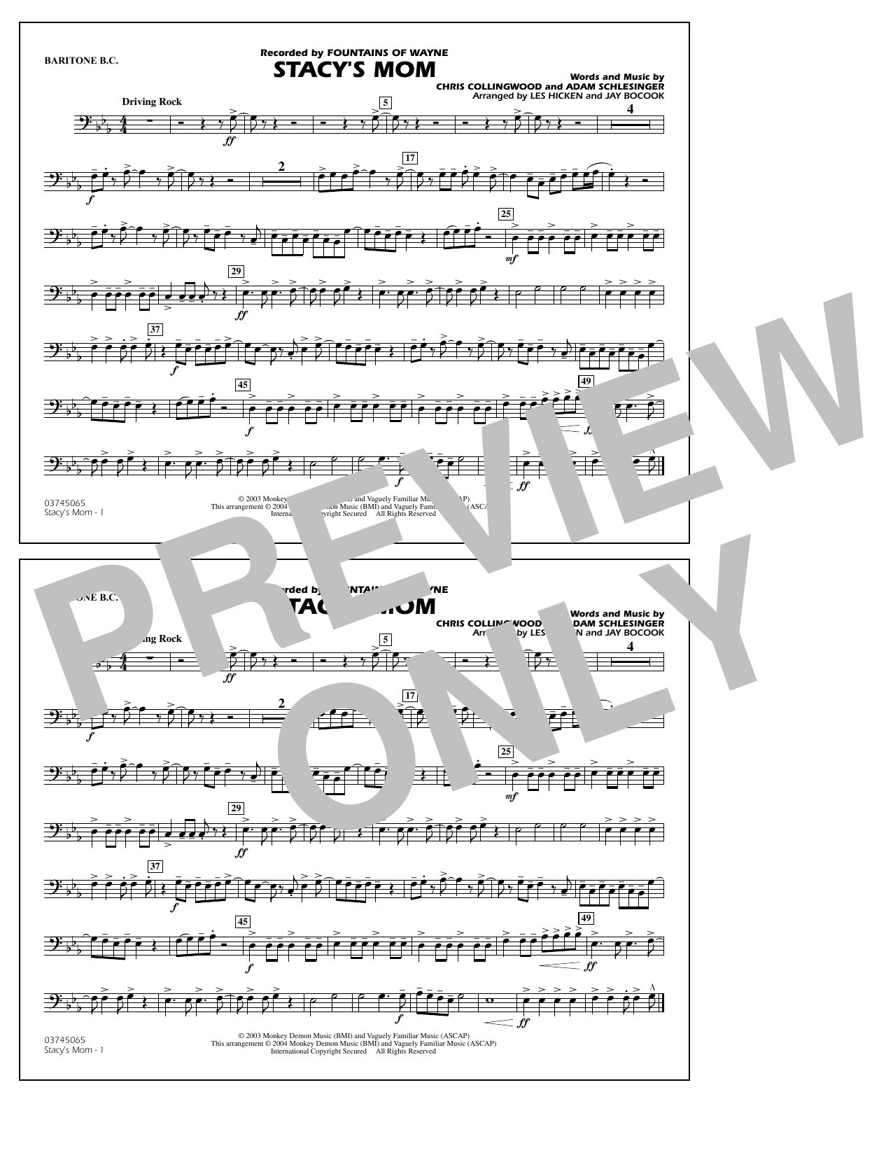 Fountains Of Wayne Stacy's Mom (arr. Les Hicken and Jay Bocook) - Baritone B.C. sheet music notes and chords. Download Printable PDF.
