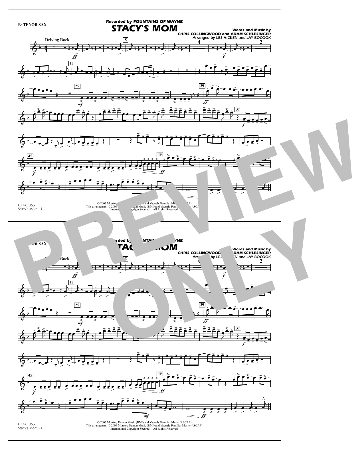 Fountains Of Wayne Stacy's Mom (arr. Les Hicken and Jay Bocook) - Bb Tenor Sax sheet music notes and chords. Download Printable PDF.