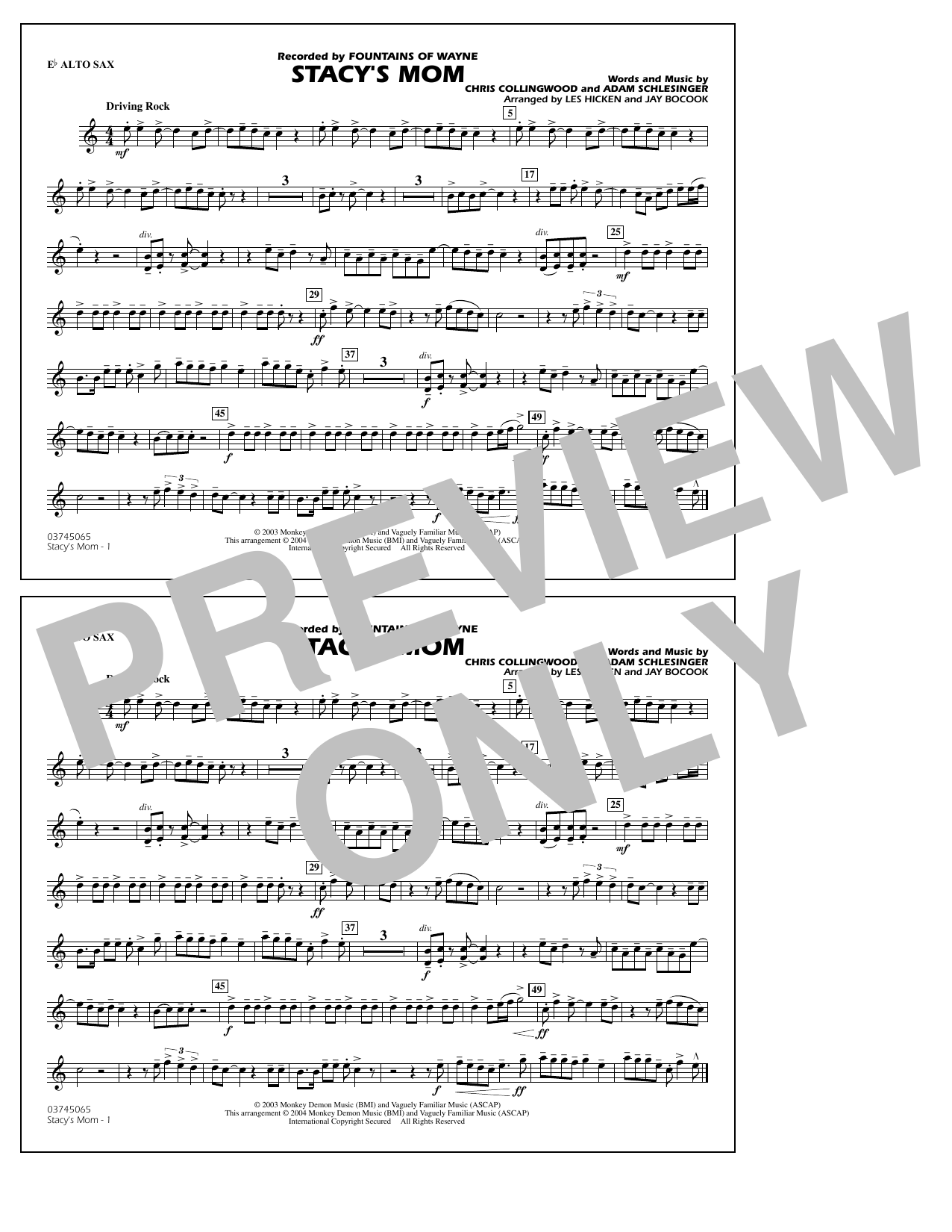 Fountains Of Wayne Stacy's Mom (arr. Les Hicken and Jay Bocook) - Eb Alto Sax sheet music notes and chords. Download Printable PDF.