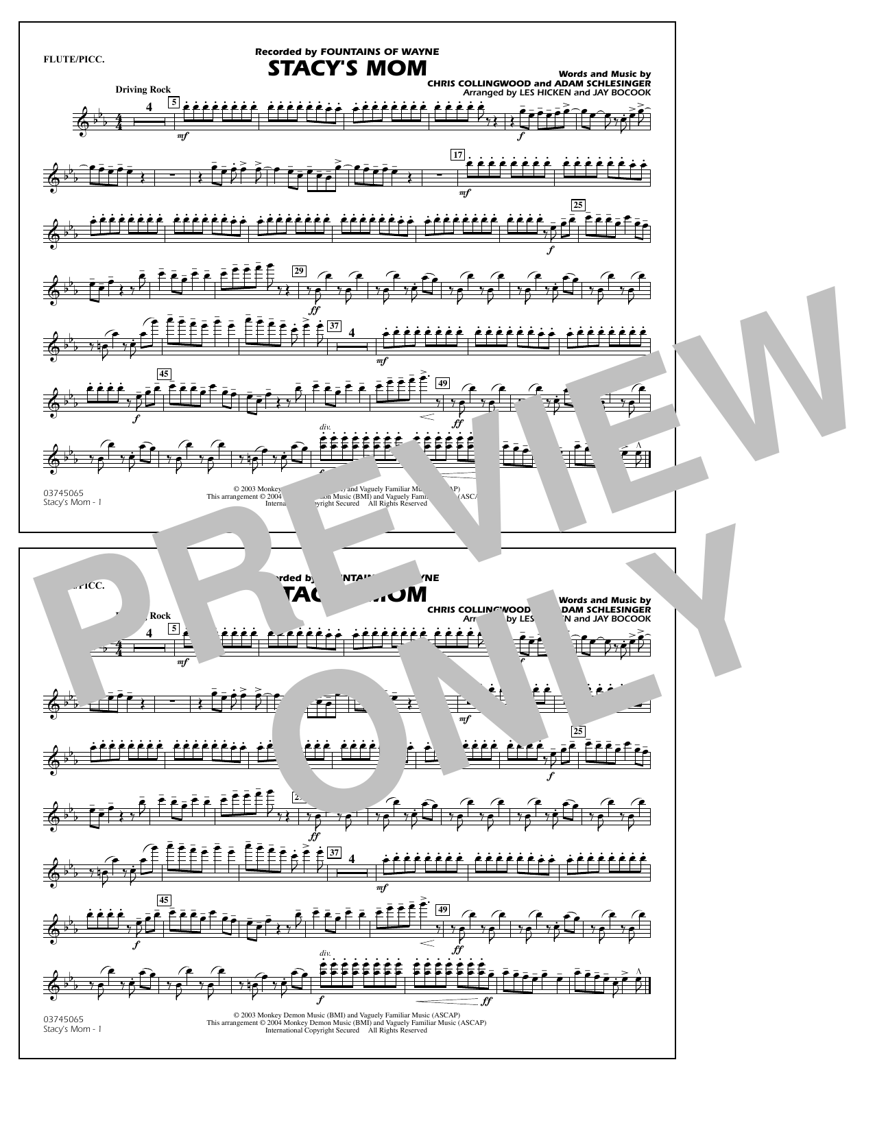 Fountains Of Wayne Stacy's Mom (arr. Les Hicken and Jay Bocook) - Flute/Piccolo sheet music notes and chords. Download Printable PDF.