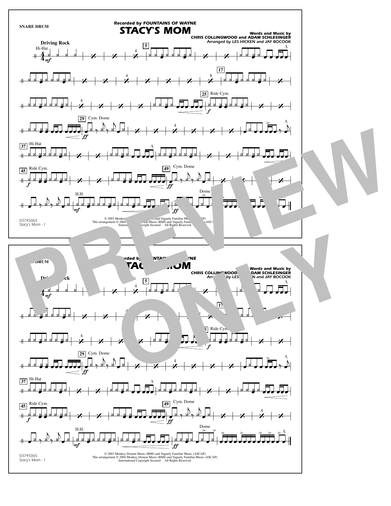 Fountains Of Wayne Stacy's Mom (arr. Les Hicken and Jay Bocook) - Snare Drum sheet music notes and chords. Download Printable PDF.