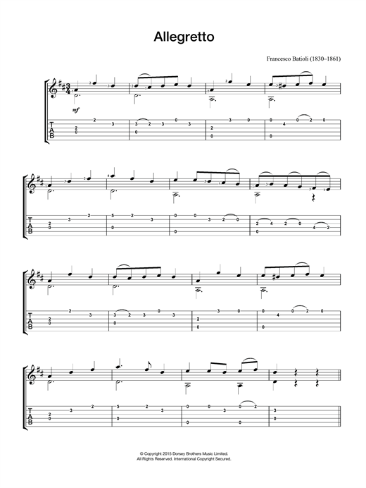 Francesco Batioli Allegretto sheet music notes and chords. Download Printable PDF.