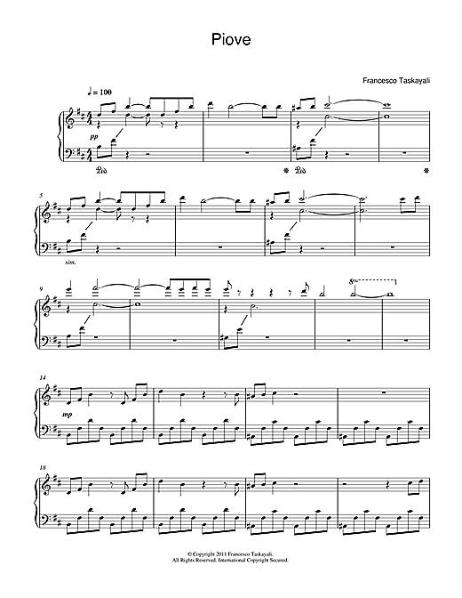 Francesco Taskayali Piove sheet music notes and chords. Download Printable PDF.
