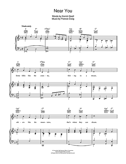 Francis Craig Near You sheet music notes and chords. Download Printable PDF.