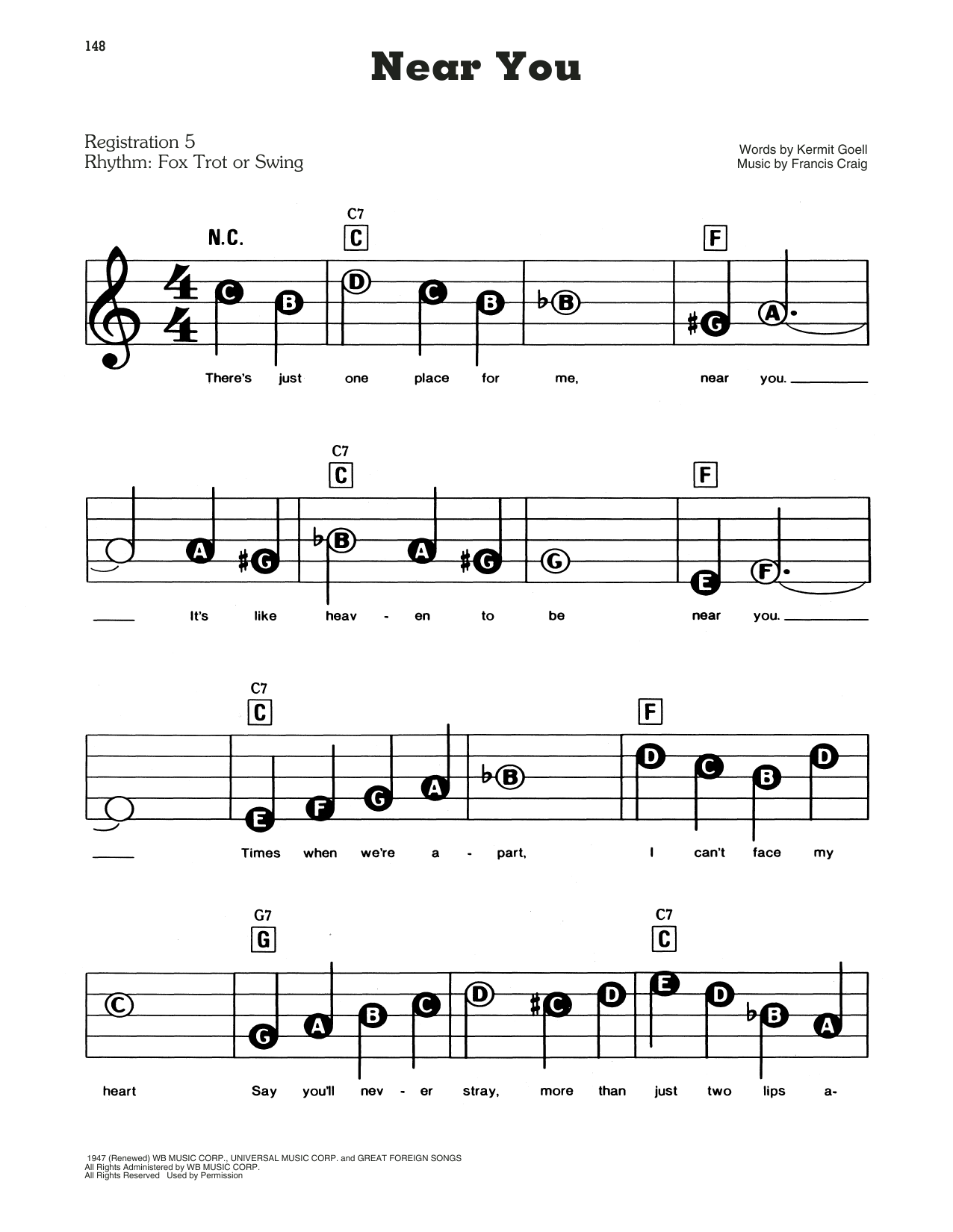 Francis Craig and His Orchestra Near You sheet music notes and chords. Download Printable PDF.