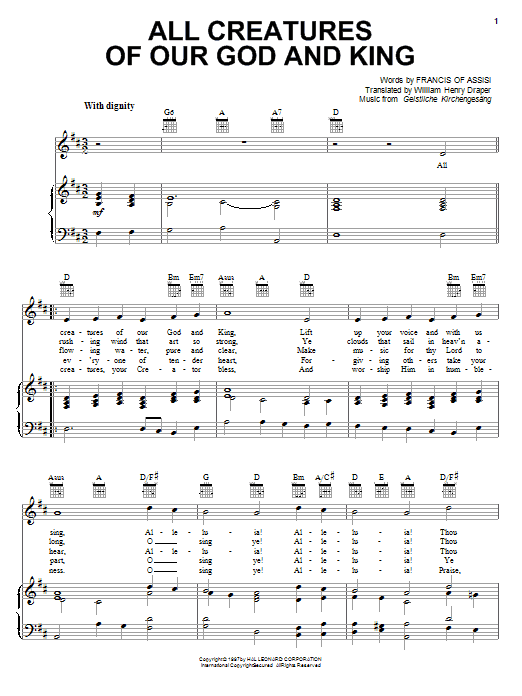 Francis of Assisi All Creatures Of Our God And King sheet music notes and chords. Download Printable PDF.