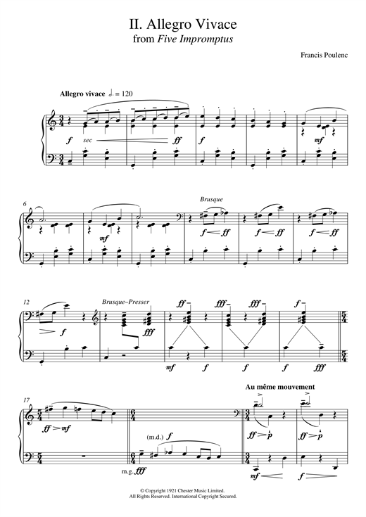 Francis Poulenc Allegro Vivace (From Five Impromptus) sheet music notes and chords. Download Printable PDF.