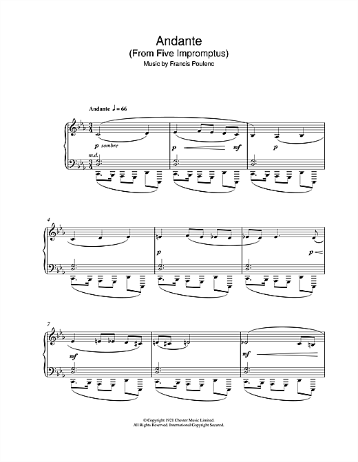 Francis Poulenc Andante (From Five Impromptus) sheet music notes and chords. Download Printable PDF.