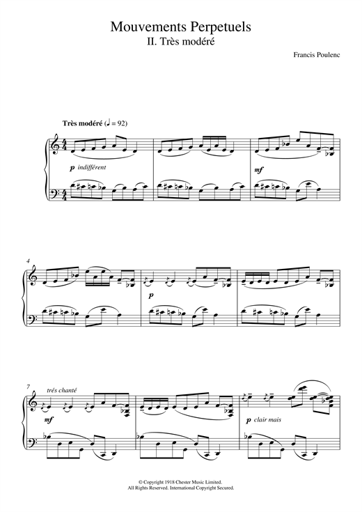 Francis Poulenc Mouvement Perpetuel No. 2 sheet music notes and chords. Download Printable PDF.