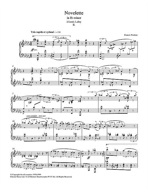 Francis Poulenc Novelette In B Flat Minor, II (from the Three Novelettes) sheet music notes and chords. Download Printable PDF.