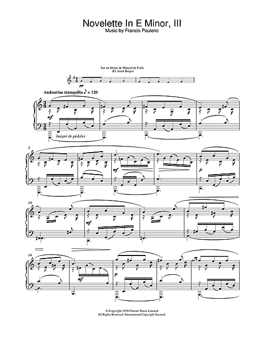 Francis Poulenc Novelette In E Minor, III (from the Three Novelettes) sheet music notes and chords