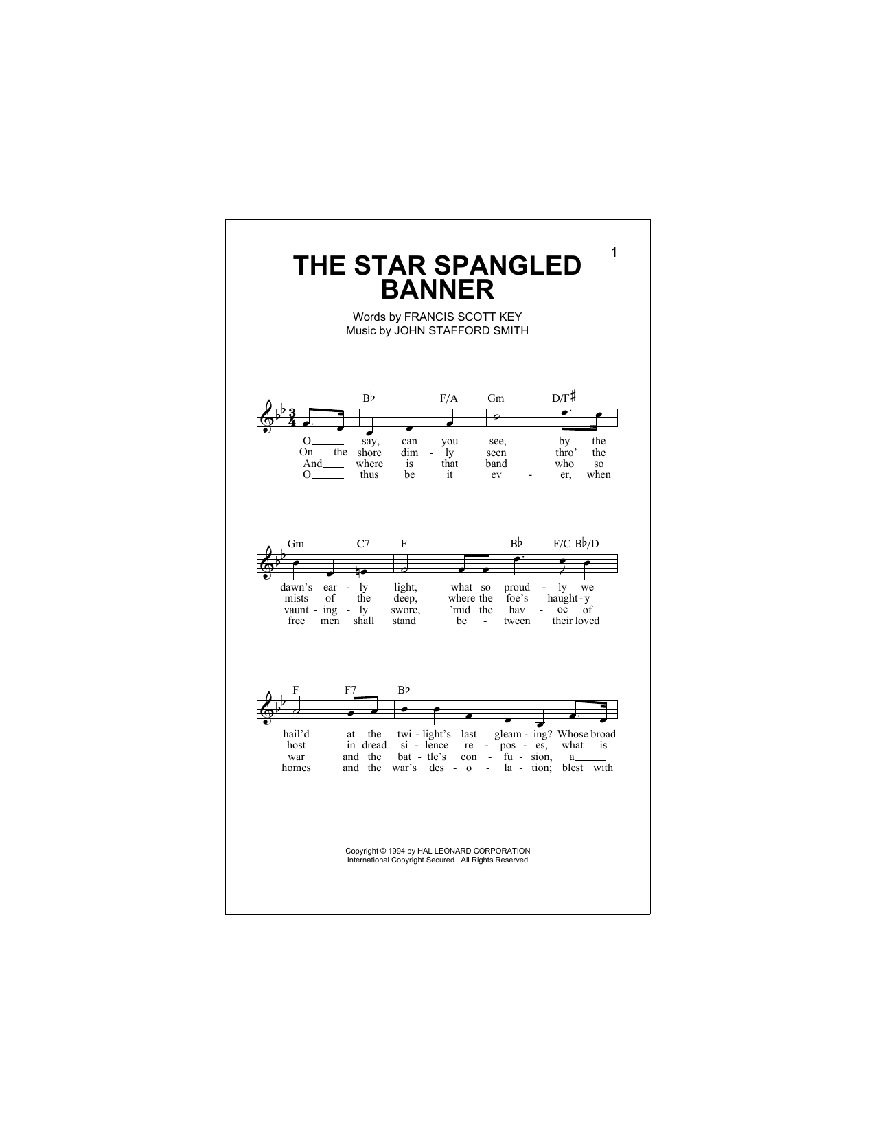 Francis Scott Key The Star Spangled Banner Sheet Music Pdf Notes Chords Patriotic Score French Horn Solo Download Printable Sku 431984
