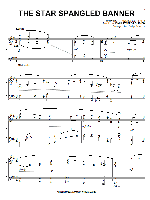 Francis Scott Key The Star Spangled Banner Arr Phillip Keveren Sheet Music Pdf Notes Chords Classical Score Piano Solo Download Printable Sku 58296